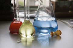 Chemical laboratory flasks Royalty Free Stock Images