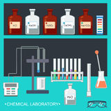 Chemical Laboratory. Flat design. Chemical glassware, measuring utensils, ion electrode, test pH paper, laboratory bench. Vector. Illustration Royalty Free Stock Photos