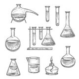 Chemical laboratory glass and equipment sketch. Laboratory glassware and equipment sketch set. Chemical laboratory glass flask, test tube and beaker, retort and vector illustration