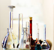Chemical laboratory glassware. Abstract background. Royalty Free Stock Image