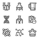 Chemical laboratory icon set, outline style royalty free illustration