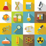 Chemical laboratory icons set, flat style Royalty Free Stock Photos