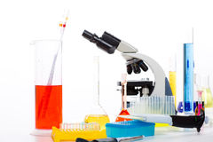 Chemical laboratory with microscope test tube flask Stock Image