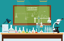 Chemical laboratory Science lesson. Royalty Free Stock Image