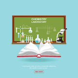 Chemical laboratory Science lesson with open book. Stock Photo