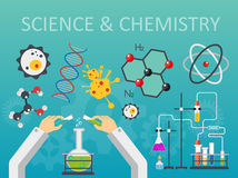 Chemical laboratory science and technology flat style design vector illustration. Scientists hands workplace concept. Chemical laboratory science and technology