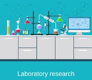 Chemical laboratory science and technology. Scientists workplace concept. Science, education, chemistry, experiment, laboratory concept. vector illustration in