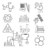 Chemical laboratory science and technology thin line icons set . Workplace tools stock illustration