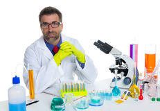 Chemical laboratory scientist man working portrait Stock Photo