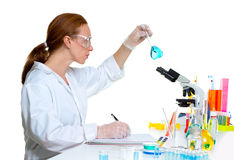 Chemical laboratory scientist woman with glass flask Stock Images