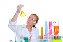 Chemical laboratory scientist woman with glass flask Royalty Free Stock Photo