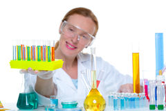 Chemical laboratory scientist woman with test tube Royalty Free Stock Photos