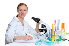 Chemical laboratory scientist woman working portrait Stock Photography