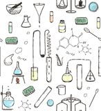 Chemical Laboratory Seamless Pattern Stock Image