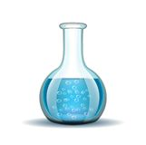 Chemical laboratory transparent flask with blue Stock Image