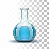 Chemical laboratory transparent flask with blue Royalty Free Stock Photo