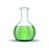 Chemical laboratory transparent flask with green Royalty Free Stock Image