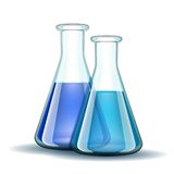 Chemical laboratory transparent flasks with blue Royalty Free Stock Photography