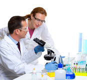 Chemical laboratory with two scientist working Stock Photos