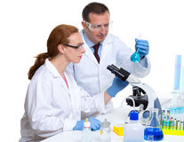 Chemical laboratory with two scientist working Stock Image