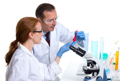 Chemical laboratory with two scientist working Royalty Free Stock Photography