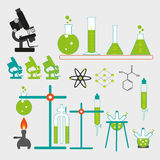 Chemical laboratory. Vector illustrations of equipment of chemical laboratory Royalty Free Stock Photography