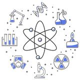 Chemistry icons banner. Chemical line flat icons. Science icons composition. Circle banner. Linear icons of molecule and tube, flask and burner, robotic scene Stock Photos