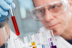 Chemical Liquid Examination Stock Photo
