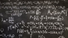 Chemical and mathematical equations wall room background focused and defocused action stock footage