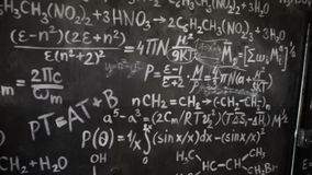 Chemical and mathematical equations wall room background paning. Chemical and mathematical equations wall room background interior stock video footage