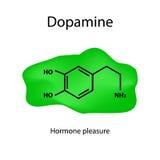 Chemical molecular formula hormone dopamine. The hormone pleasure. Infographics Vector illustration. Chemical molecular formula hormone dopamine. The hormone stock illustration