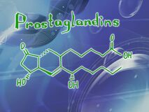 Chemical molecular formula of the hormone Prostaglandins Infographics. Abstract bright glitter blue background.
