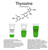 The chemical molecular formula of the hormone thyroxine. Thyroid hormone. Decrease and increase of thyroxine. Infographics. Vector illustration Stock Photos