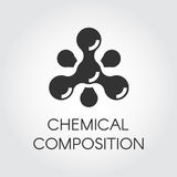 Chemical molecular icon in flat style. Atom structure composition. Black simplicity vector pictogram. Web label Royalty Free Stock Photography