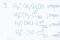 Chemical molecule structure on white boar Stock Photo