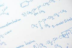 Chemical molecule structure on white boar Royalty Free Stock Photos