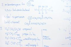 Chemical molecule structure on white boar Royalty Free Stock Images