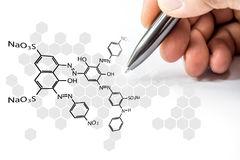 Chemical net with hand sign on hexagon shape on white Royalty Free Stock Photography