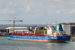 Chemical oil products tanker ship at Trade Port Louis, Mauritius Royalty Free Stock Image