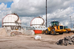 Chemical and oil refinery with storage tank Stock Photography