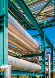 Chemical pipe line on steel structure Stock Photo