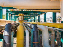 Chemical pipe line on steel structure Royalty Free Stock Image