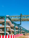 Chemical pipe line on steel structure Royalty Free Stock Photos