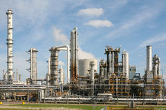 Chemical plant. Chemical factory against blue sky Royalty Free Stock Photography