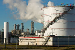 Chemical plant. Where crude oil is being refined Stock Images