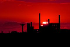 Chemical plant. Closed down in the sunset Royalty Free Stock Image