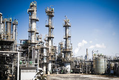 Chemical plant. In the blue sky stock images