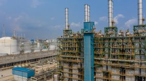 Chemical plant, chemical factory, Industrial plant with blue sky, Aerial view.  stock photo