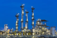 Chemical Plant Detail At Night Stock Images