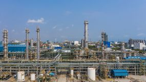 Chemical plant, chemical factory, Industrial plant with blue sky, Aerial view.  royalty free stock photos